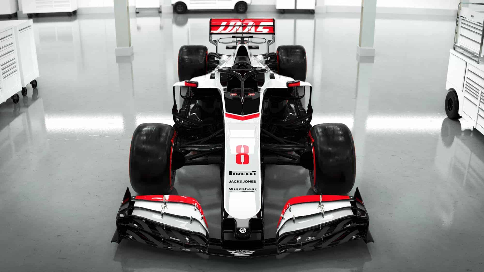 Haas VF20 F1 2020 car front view Photo Haas 2000px