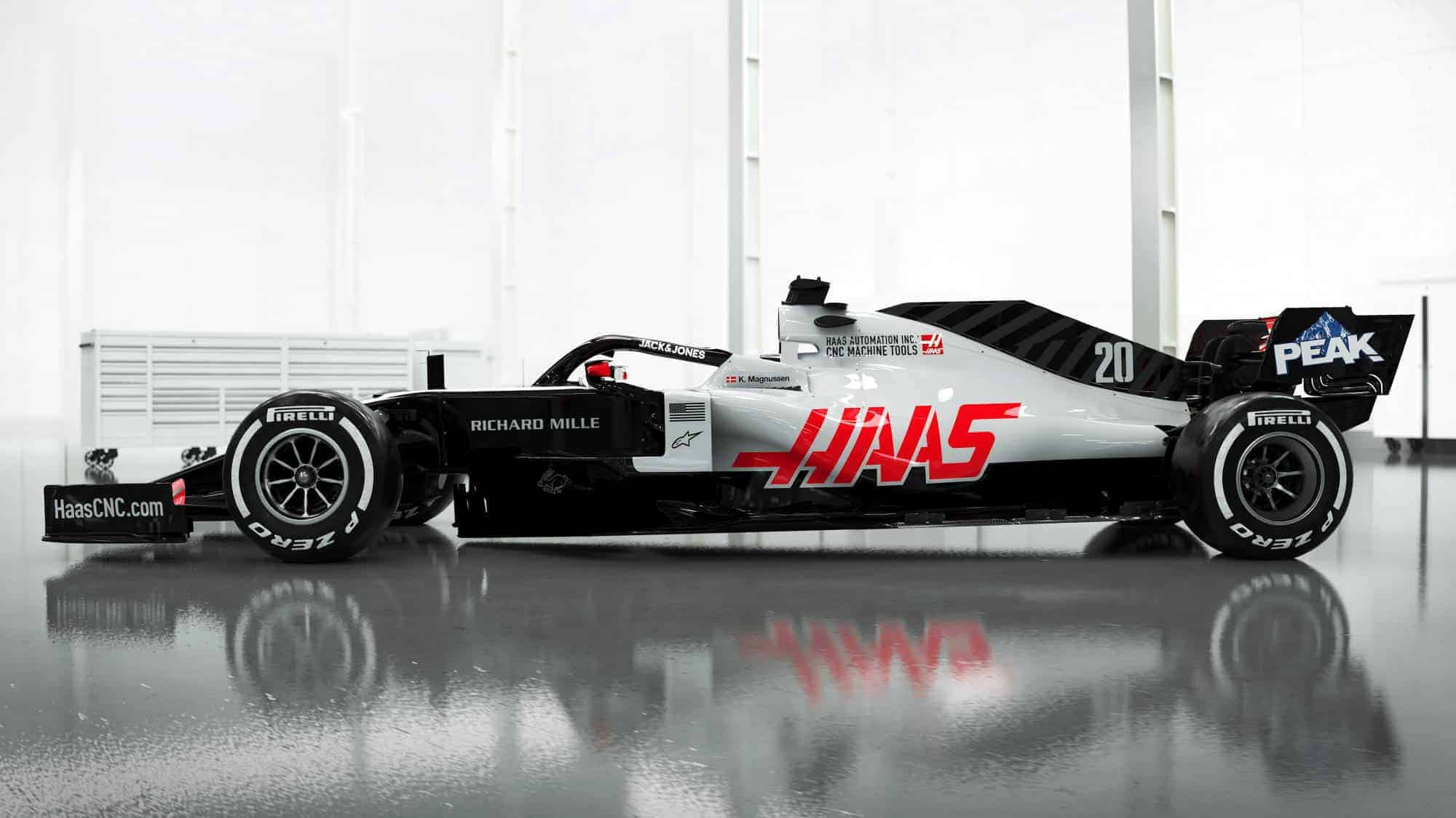 Haas VF20 F1 2020 car left side Photo Haas 2000px
