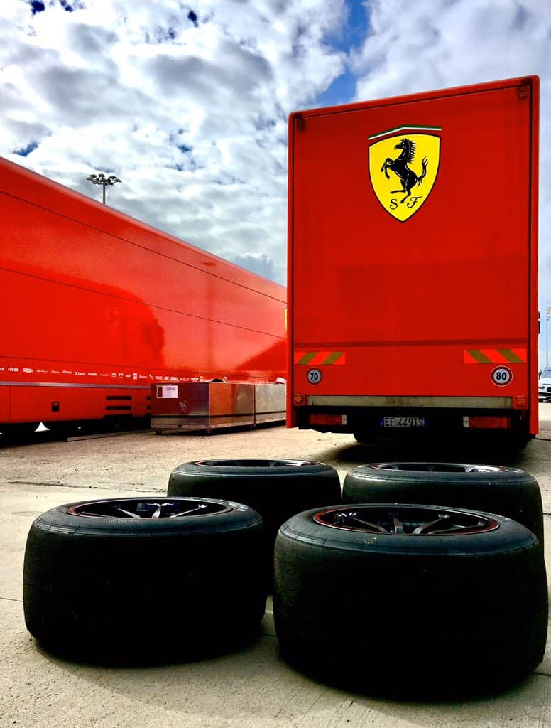 Leclerc Ferrari 18-inch wheel 8 October 2020 truck in Jerez Photo Pirelli