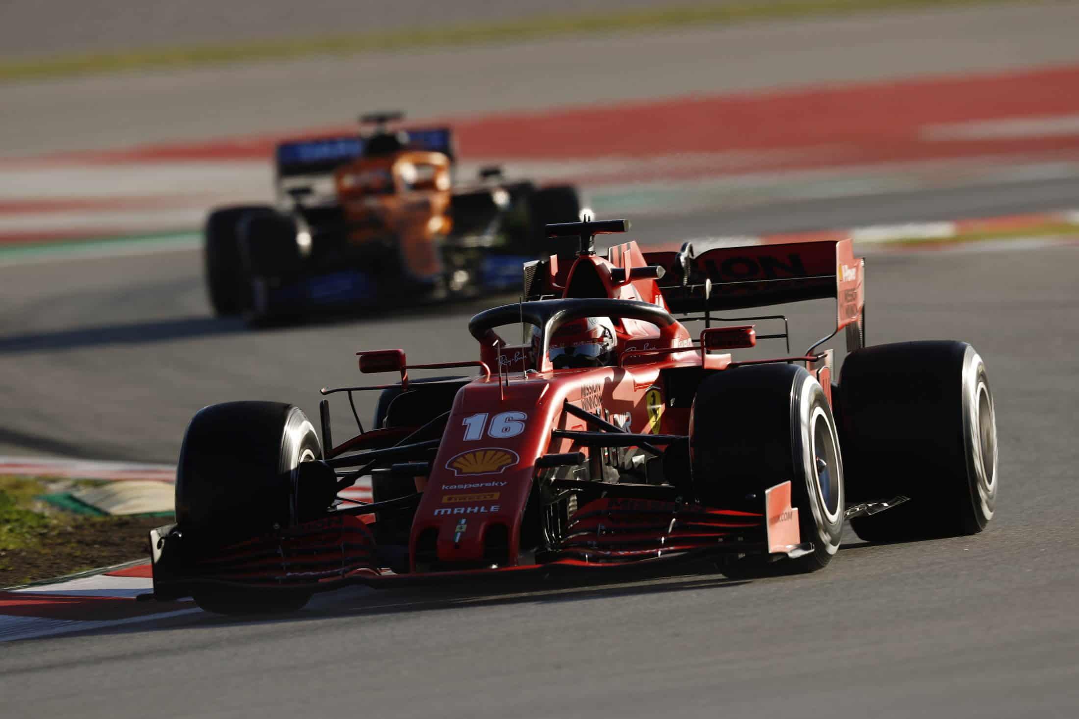 Leclerc Ferrari leads McLaren F1 2020 Test 2 Day 3 Photo Pirelli