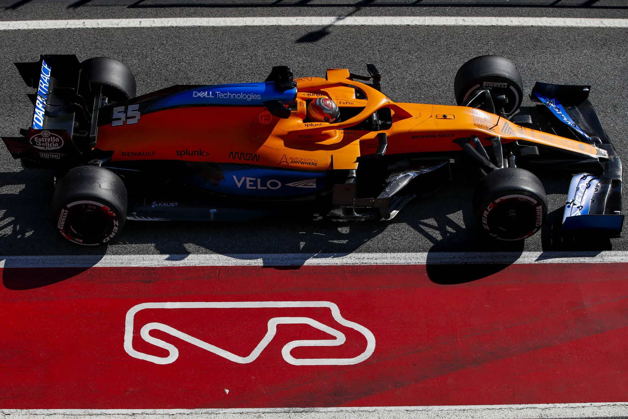 Sainz McLaren MCL35 Barcelona Test 1 Day 3 pitlane Photo McLaren