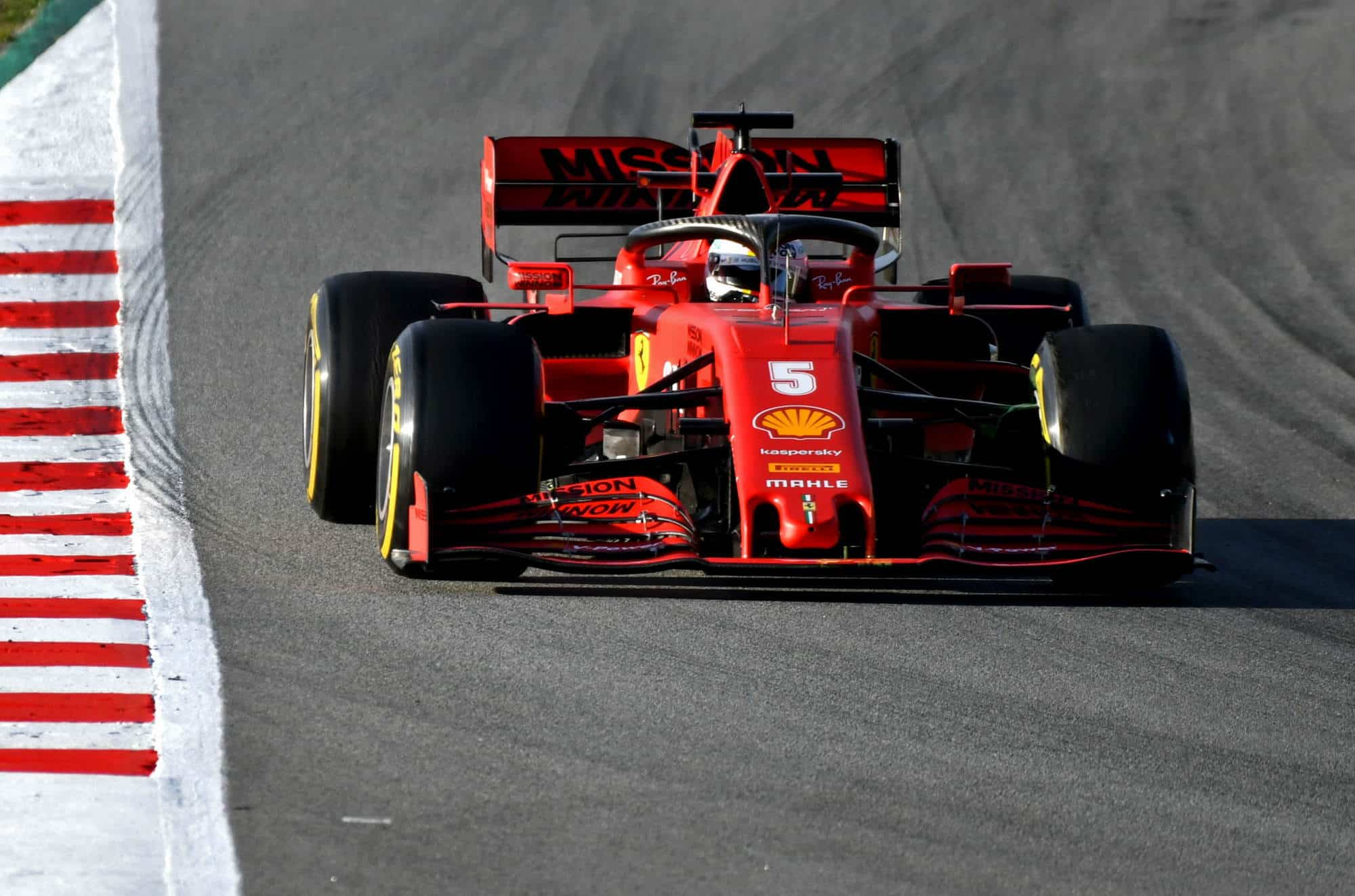 Sebastian Vettel Ferrari SF1000 Barcelona Test 2 Day 2 front C3 Pirelli Photo Ferrari