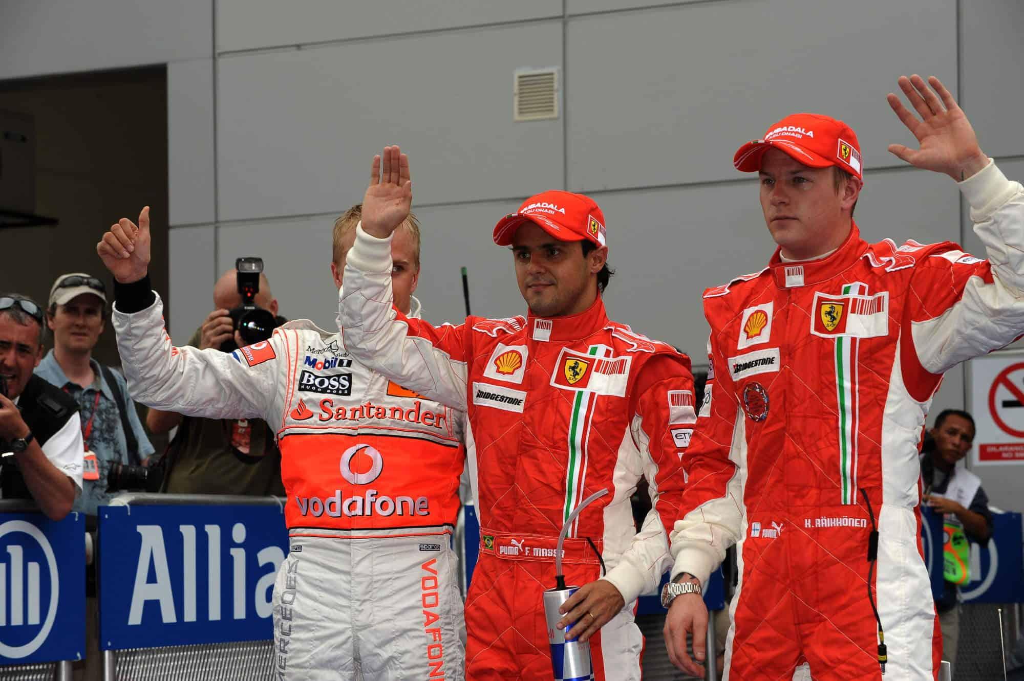 2008 Malaysian GP Massa Raikkonen Kovalainen after qualifying Photo Ferrari