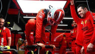 Leclerc Ferrari garage F1 2020 Test 2 Day 3 Photo Pirelli