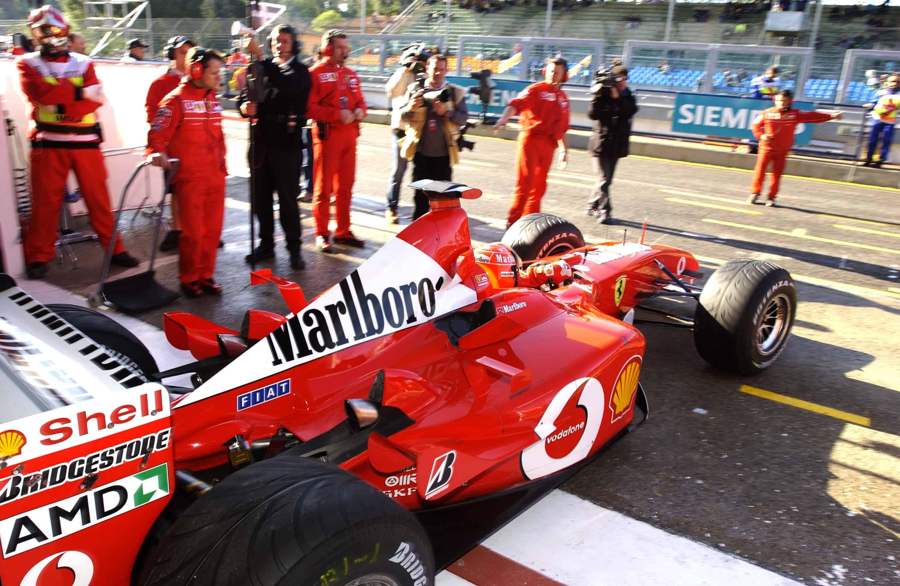 2002 F1 San Marino GP Imola Michael Schumacher pitlane Photo Ferrari