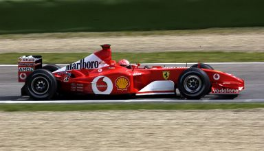 2002 F1 San Marino GP Imola Michael Schumacher side view Photo Ferrari