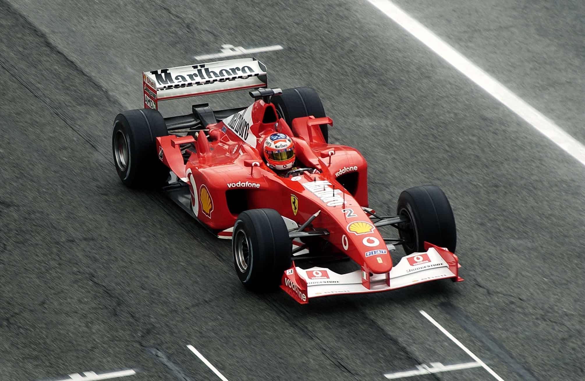 2002 F1 San Marino GP Imola Rubens Barrichello in the wet Photo Ferrari