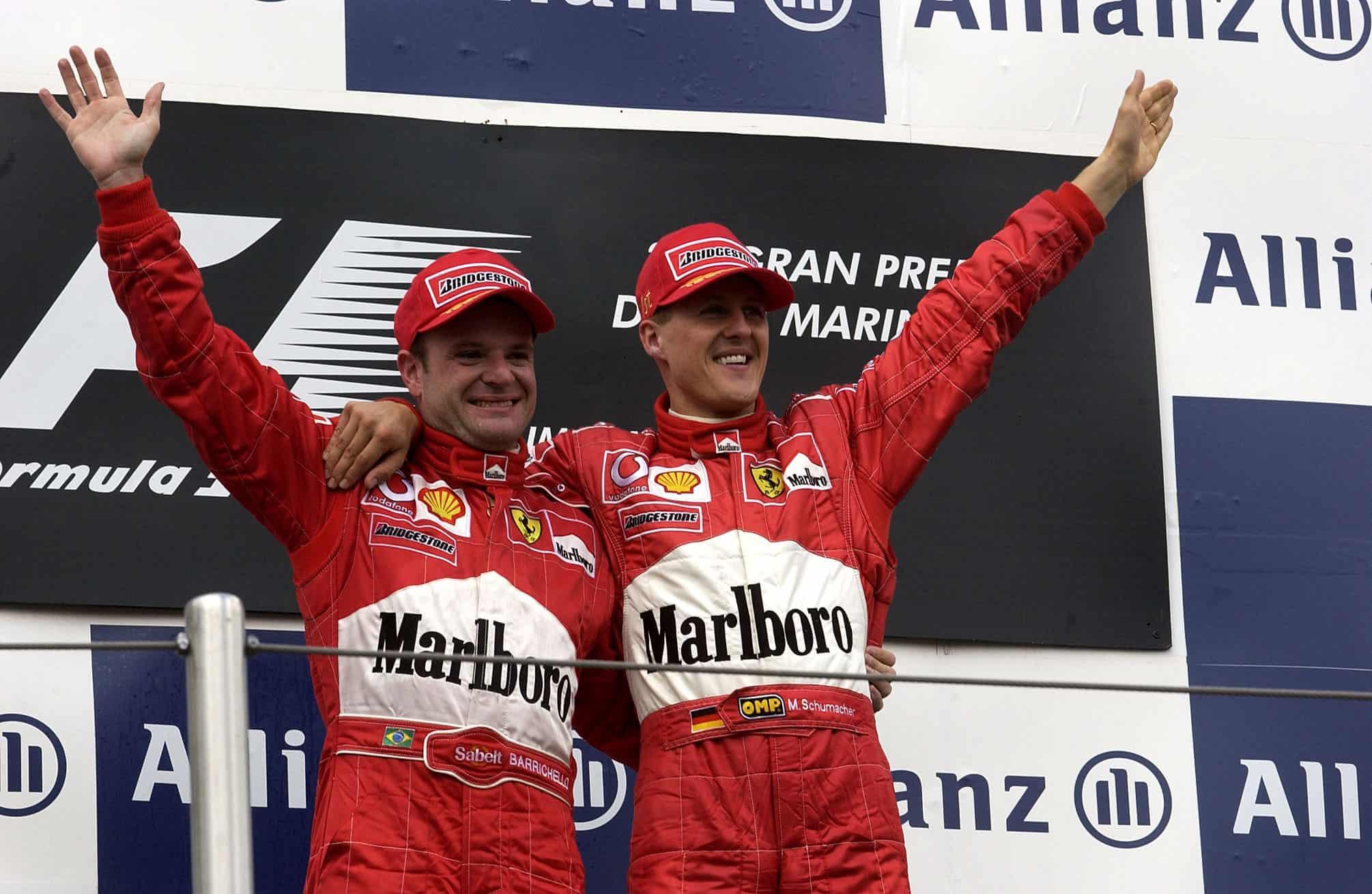 2002 F1 San Marino GP Imola podium Michael Schumacher and Rubens Barrichello Photo Ferrari