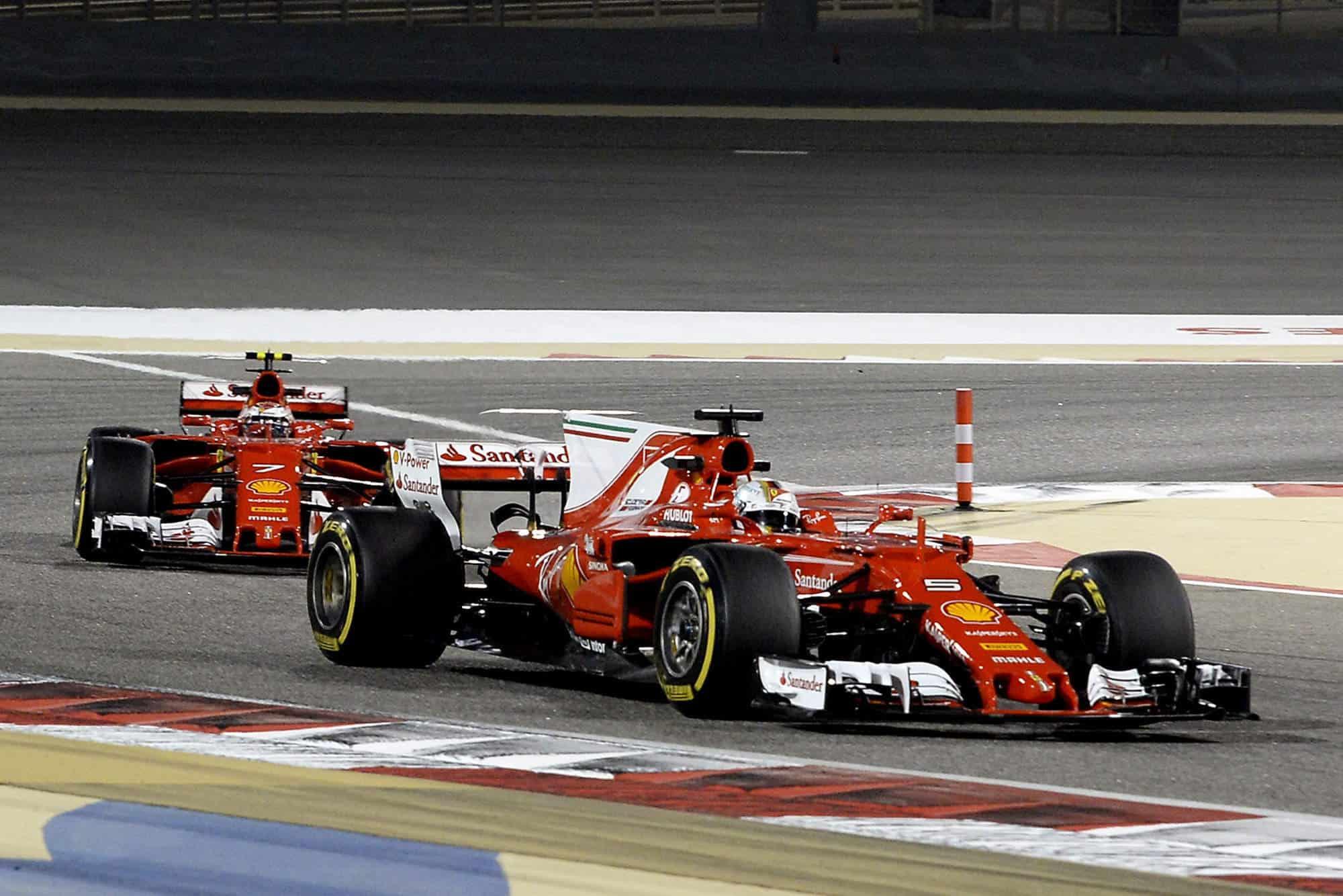2017 Bahrain GP Vettel and Raikkonen SF70H Photo Ferrari