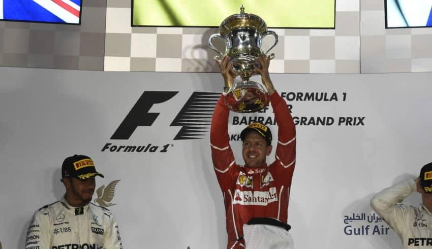 2017 Bahrain GP podium Vettel Hamilton Bottas Photo Ferrari