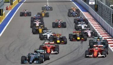 2017 Russian GP Bottas leads Ferrari drivers Vettel and Raikkonen Photo Daimler