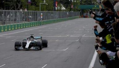 2018 Azerbaijan GP Hamilton wins for Mercedes finish line Photo Daimler