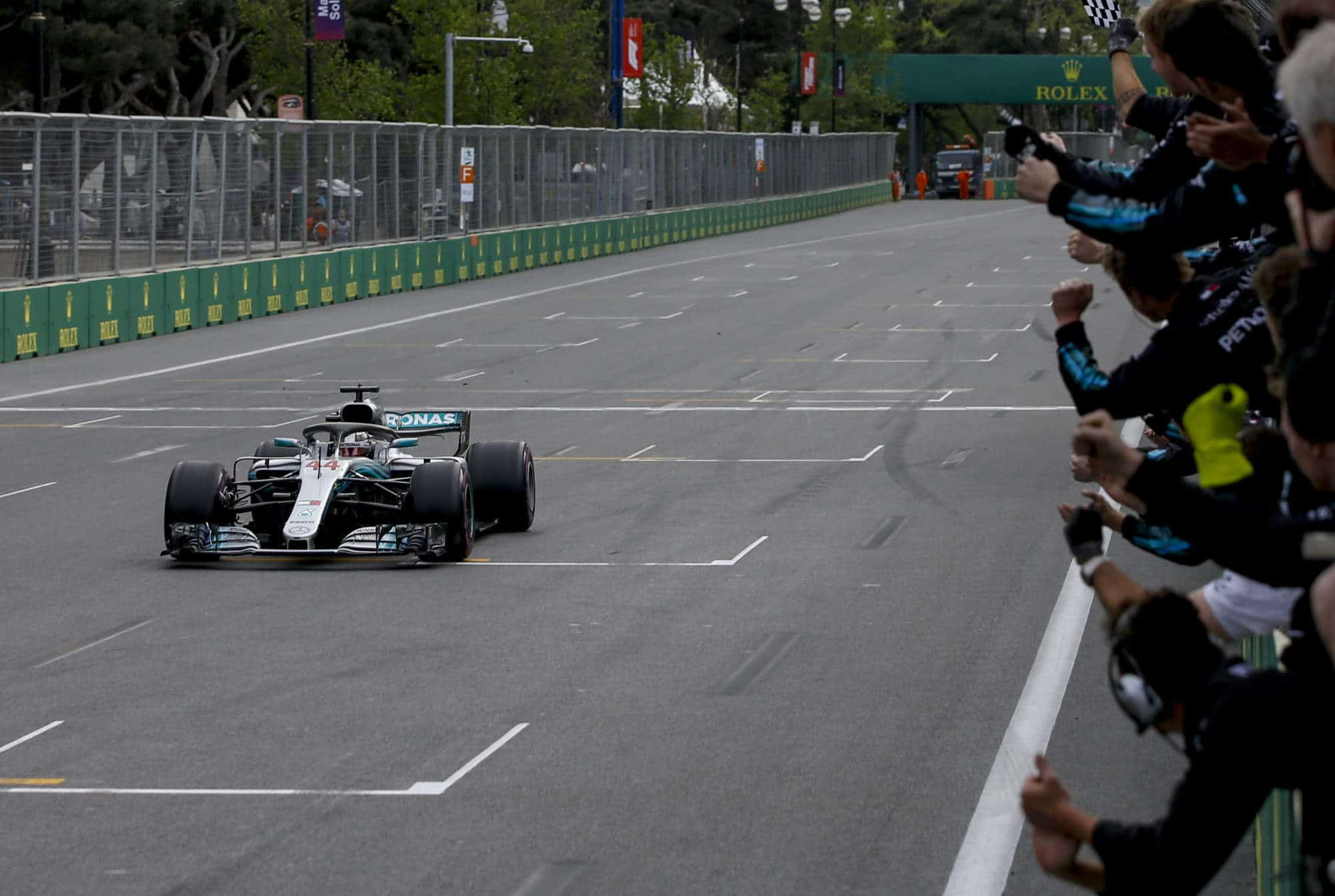 2018 Azerbaijan GP Hamilton wins for Mercedes finish line Photo Daimler