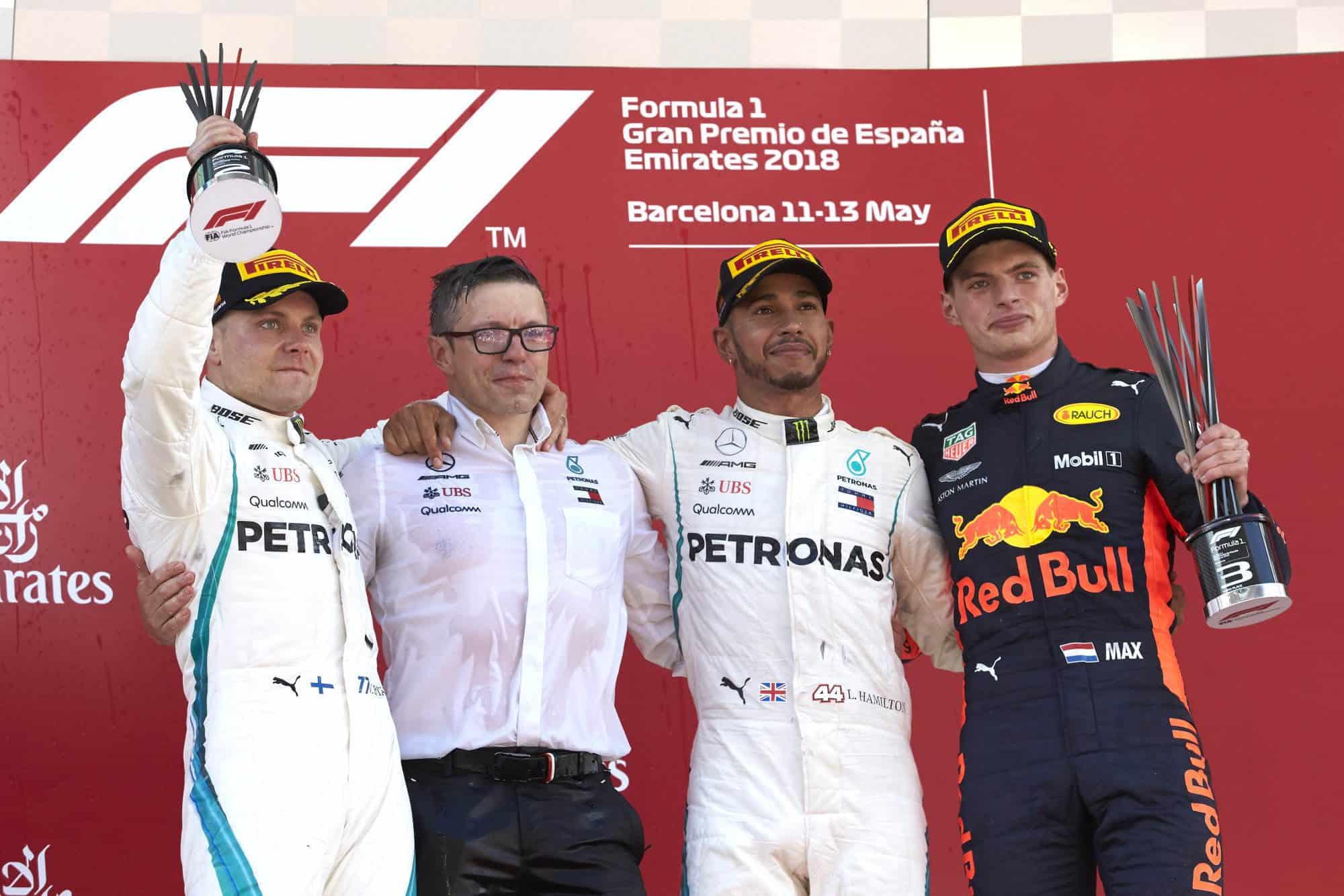 2018 Spanish GP Podium Hamilton Bottas Verstappen Photo Daimler