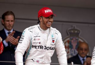 Lewis Hamilton Monaco GP F1 2019 with Niki Lauda cap tribute Photo Daimler Edited by MAXF1net