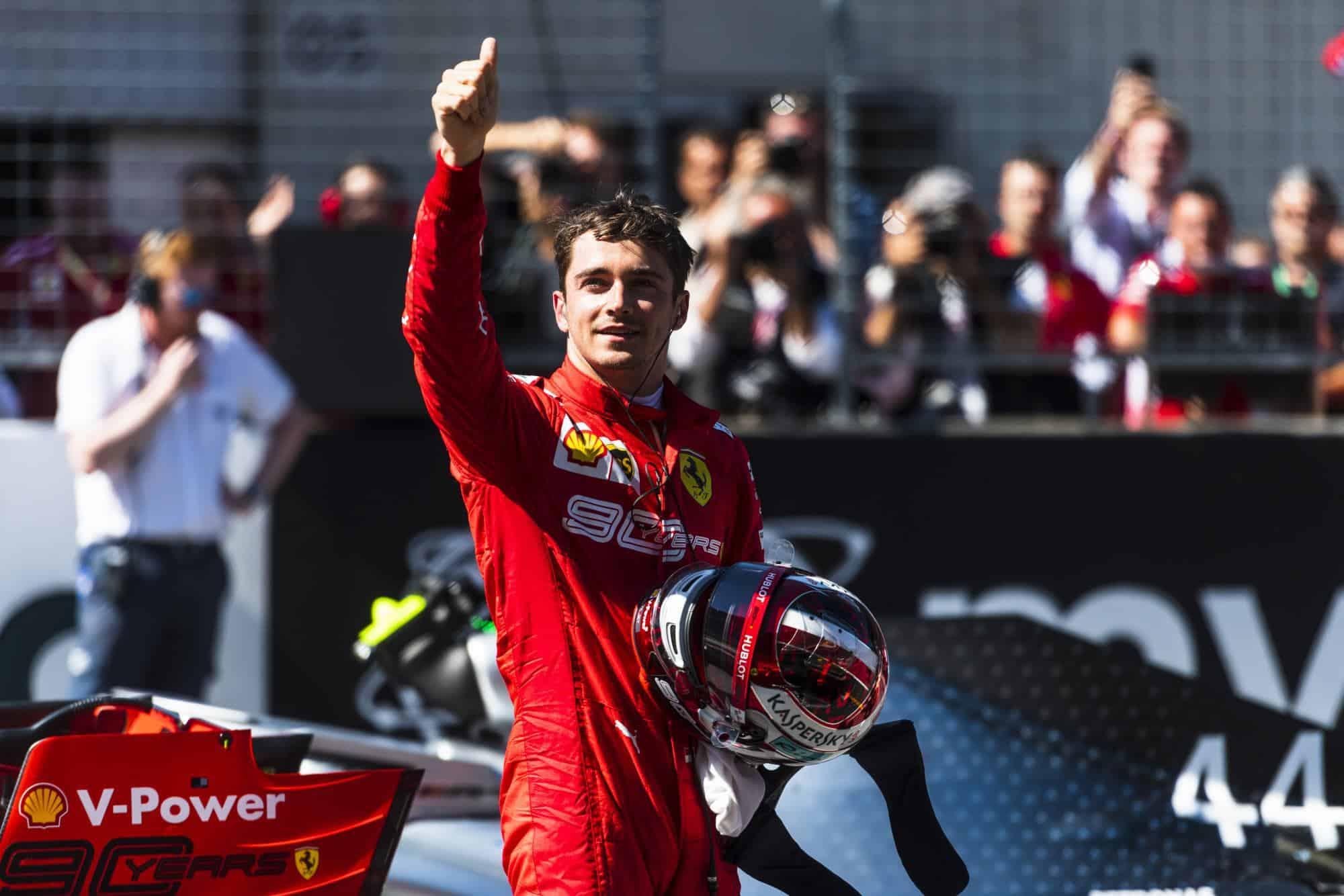 Charles Leclerc Ferrari SF90 Austrian GP F1 2019 celebrating pole Photo Ferrari