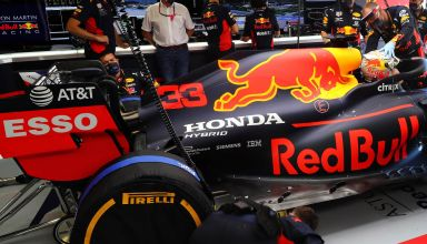 2020 Austrian GP Red Bull RB16 garage rear end side view Photo Red Bull