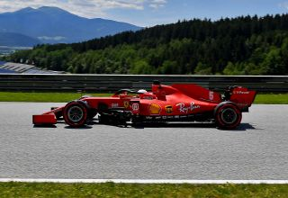 2020 Austrian GP Vettel Ferrari SF1000 on straight Red Bull Ring Photo Ferrari