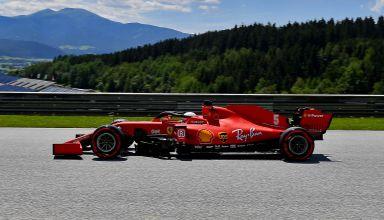 2020 Austrian GP Vettel Ferrari SF1000 on straight Red Bull Ring Photo Ferrari