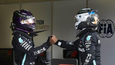 2020 Hungarian GP Hamilton and Bottas after qualifying celebration Photo Daimler