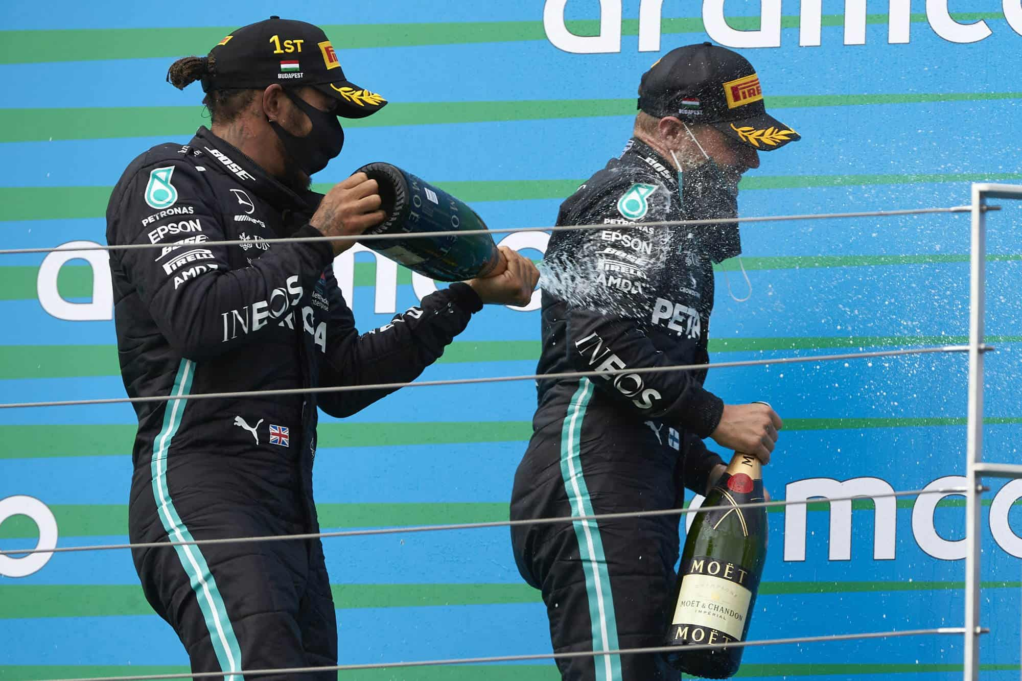 2020 Hungarian GP Mercedes Hamilton Bottas on podium champagne Photo Daimler