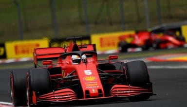 2020 Hungarian GP Vettel leads Leclerc Ferrari soft Pirelli Q Photo Ferrari