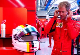 2020 Stytian GP Vettel Ferrari in garage Photo Ferrari