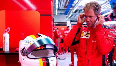 2020 Stytian GP Vettel Ferrari in garage Photo Ferrari