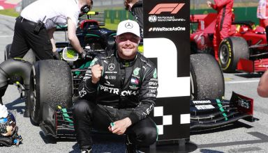 Bottas Mercedes Austrian GP F1 2020 on track after winning the race Photo Daimler