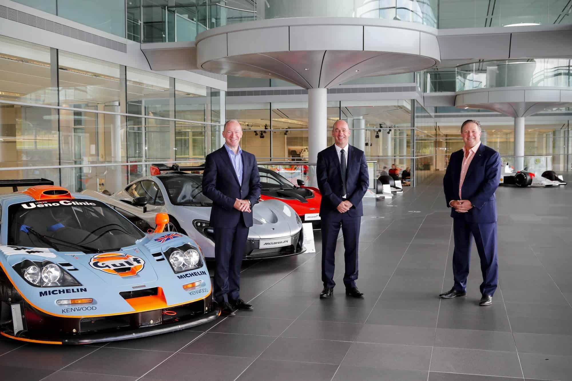 From left to right Mike Flewitt McLaren Automotive CEO Mike Jones Gulf Oil International Ltd CEO Zak Brown McLaren Racing CEO Photo McLaren