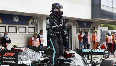 Hamilton Mercedes 2020 Hungarian GP after qualifying Soft Pirelli on the car parc ferme Photo Daimler