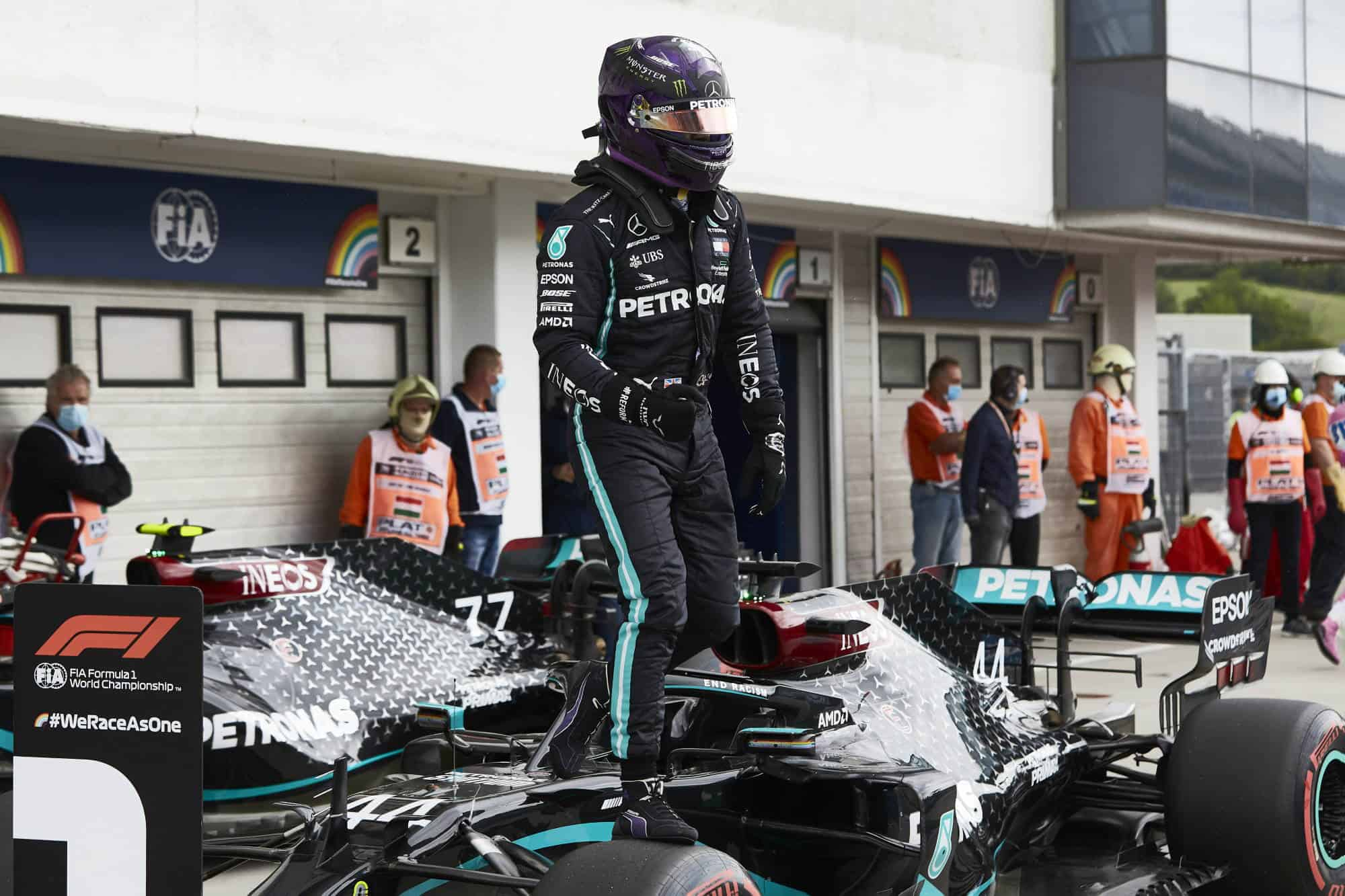 Hamilton Mercedes 2020 Hungarian GP after qualifying Soft Pirelli on the car parc ferme Photo Daimler