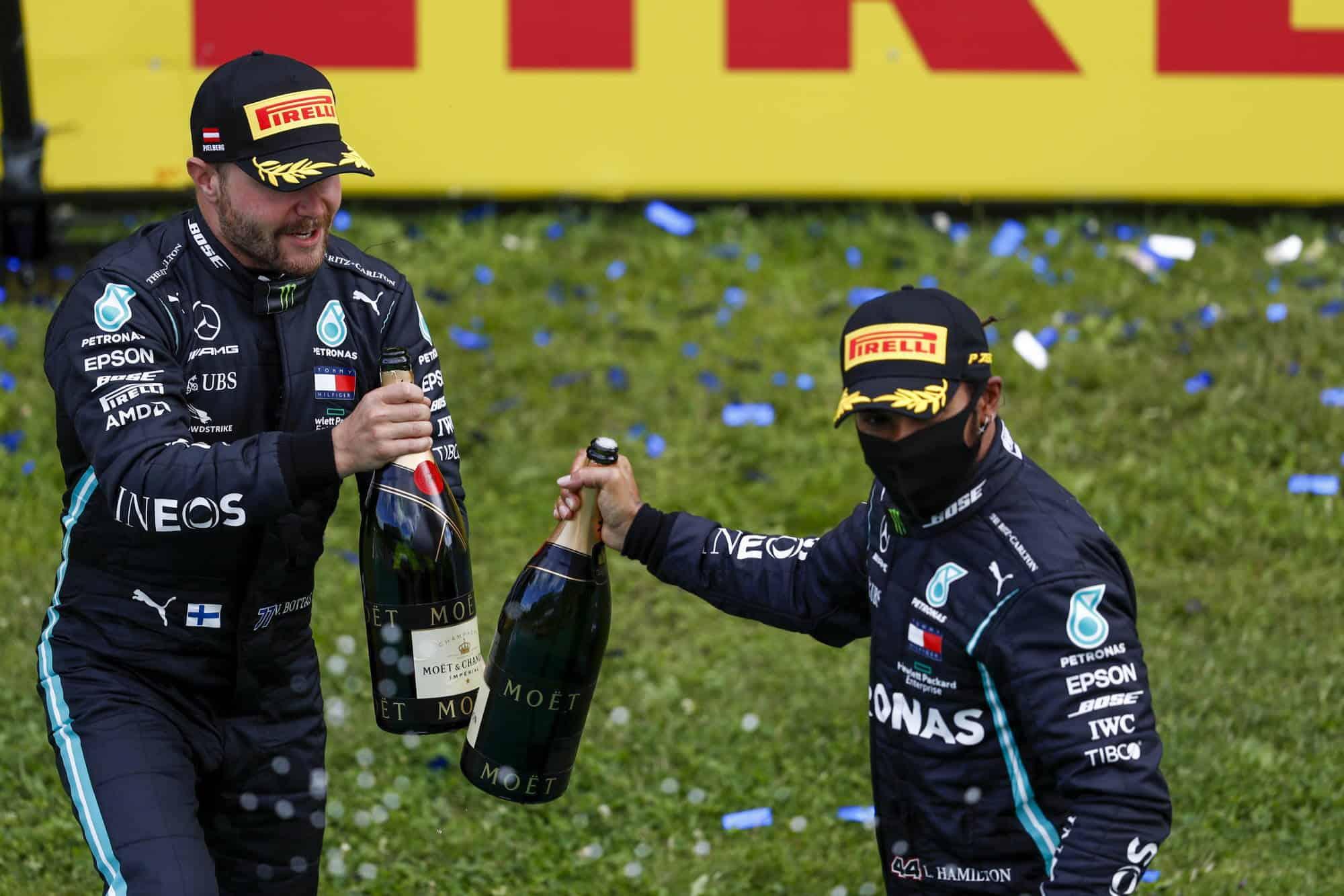Hamilton and Bottas celebrate 1-2 for Mercedes Styrian GP F1 2020 Photo Daimler