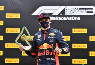 Verstappen Red Bull RB16 Styrian GP F1 2020 podium with trophy Photo Red Bull