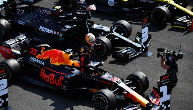 2020 70th Anniversary GP Hamilton Verstappen after the race on track Photo Daimler