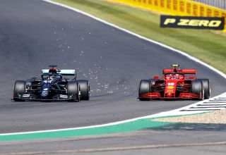 2020 70th Anniversary GP Hamilton overtakes Leclerc Photo Daimler