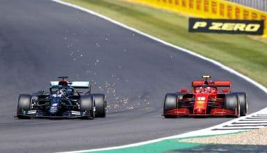 2020 70th Anniversary GP Hamilton overtakes Leclerc Photo Daimler