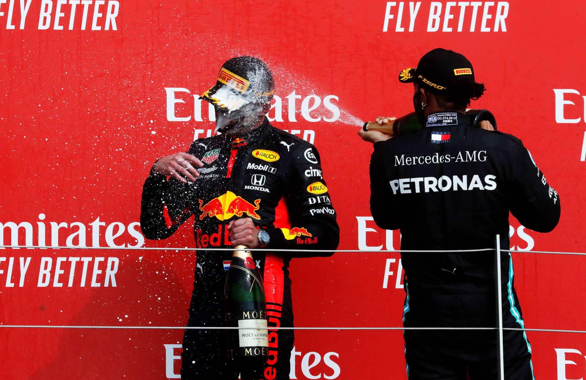 2020 70th Anniversary GP podium Verstappen Hamilton Bottas Photo Red Bull