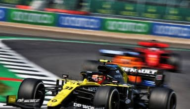 2020 70th Anniversary Ocon Renault Sunday race with Sainz and Vettel Photo Renault