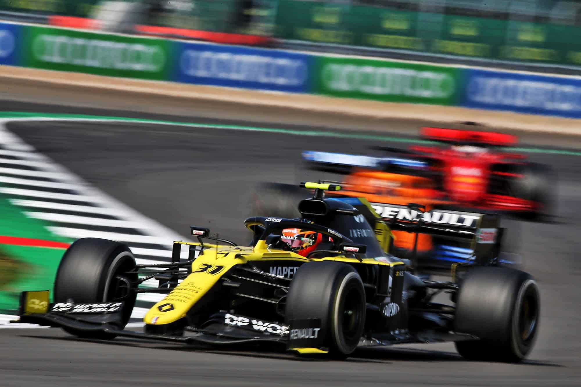 2020 70th Anniversary Ocon Renault Sunday race with Sainz and Vettel Photo Renault