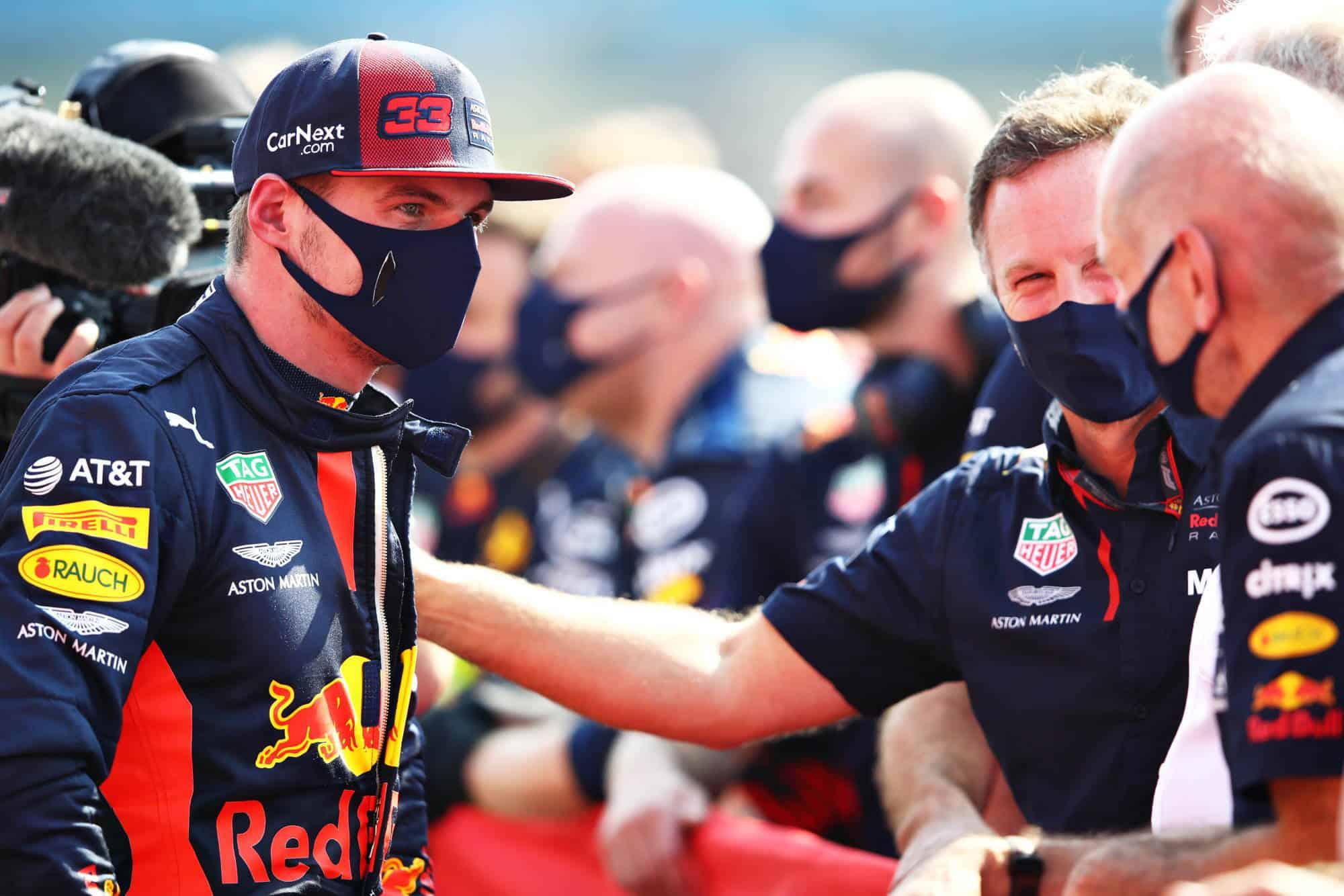 2020 70th Anniversary Verstappen Horner Newey Red Bull Photo Red Bull