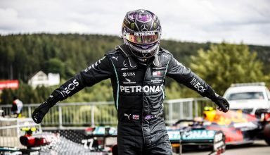 2020 Belgian GP Hamilton Mercedes after qualifying Photo Daimler