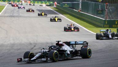 2020 Belgian GP Hamilton leads Bottas Verstappen Ricciardo Photo Daimler