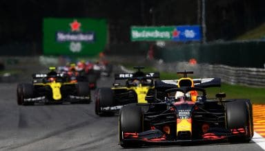 2020 Belgian GP Verstappen leads Ricciardo Ocon Photo Red Bull
