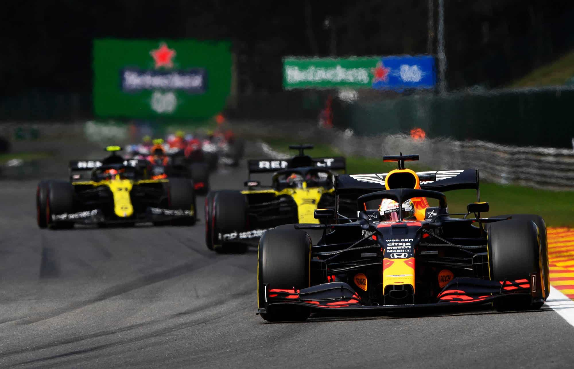 2020 Belgian GP Verstappen leads Ricciardo Ocon Photo Red Bull