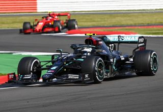 2020 British GP Bottas leads Leclerc Photo Daimler