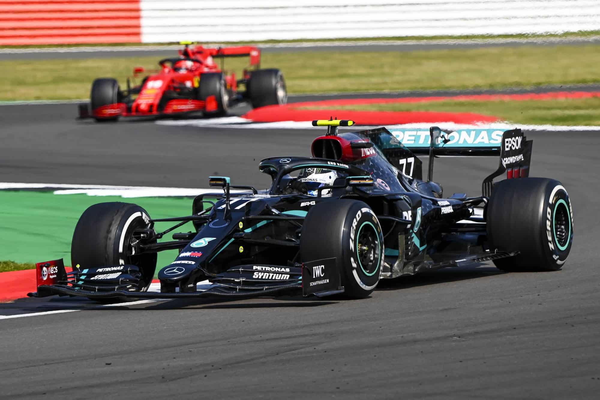 2020 British GP Bottas leads Leclerc Photo Daimler