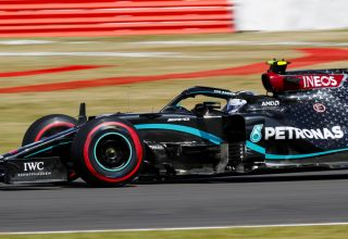 2020 British GP Bottas soft Pirelli side shot Photo Daimler