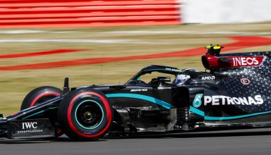 2020 British GP Bottas soft Pirelli side shot Photo Daimler