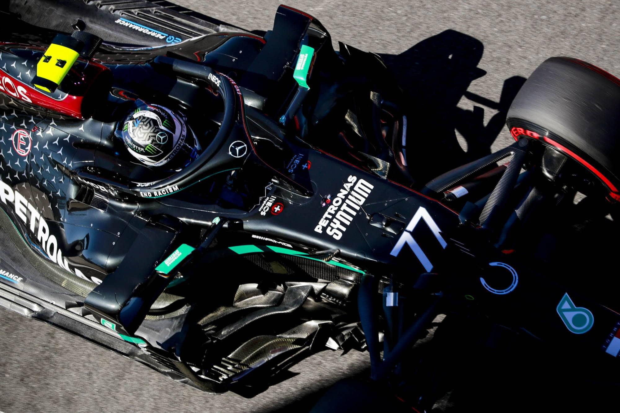2020 British GP Bottas soft Pirelli top shot Photo Daimler